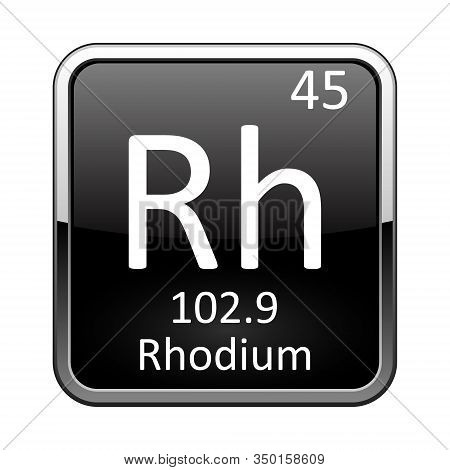 Rhodium Symbol.chemical Element Of The Periodic Table On A Glossy Black Background In A Silver Frame