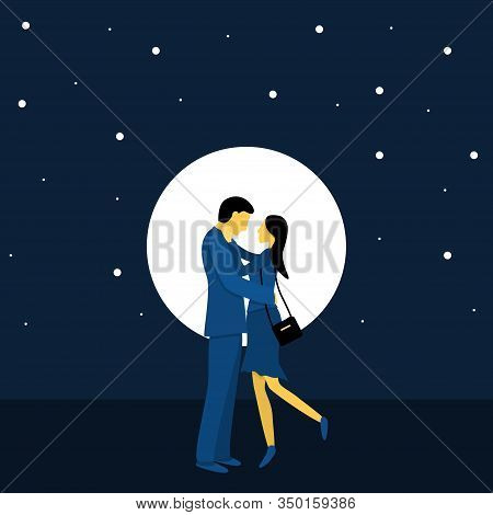 A Couple Of Cute Lovers On A Background Of The Night Sky With The Moon. Flat Vector Illustration In