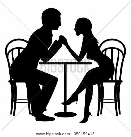 A Couple Of Cute Lovers At A Table In A Cafe. Flat Vector Silhouette Illustration