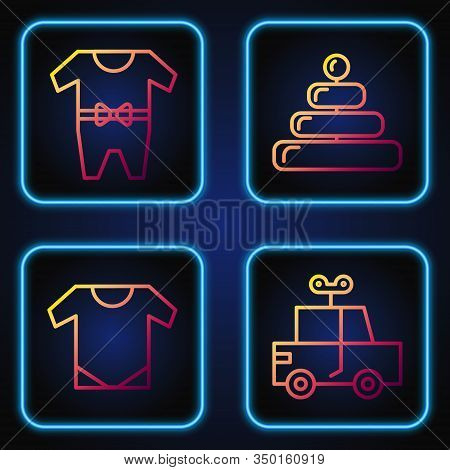 Set Line Toy Car, Baby Onesie, Baby Clothes And Pyramid Toy. Gradient Color Icons. Vector