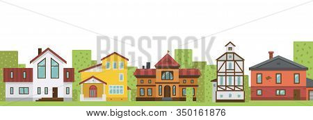 Country Elite Houses Or Cottage For Rent Or Sale Building Real Estate Banner Vector Illustration. Co