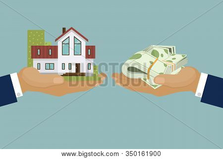 Country Elite Houses Or Cottage For Rent Or Sale Building Real Estate Concept Vector Illustration. C