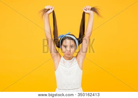 Hair Straightening. Adorable Little Girl Perfect Long Hair. Shampoo And Conditioner. Hairdresser Sal