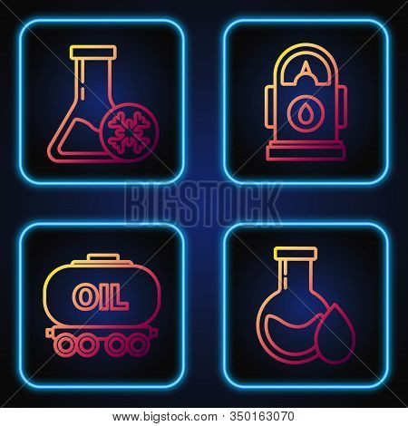 Set Line Oil Petrol Test Tube, Oil Railway Cistern, Antifreeze Test Tube And Petrol Or Gas Station.