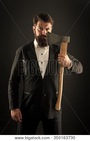 To Shave Or Not To Shave. Bearded Man Hold Axe. Brutal Hipster Prepare Sharp Blade To Shave. Razor S
