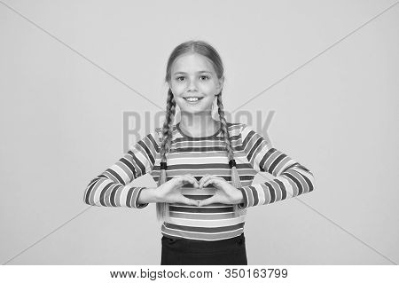I Love You With All My Heart. Happy Girl Share Love. Little Child Show Hand Heart Gesture. Happy Val