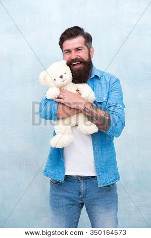 Just Have Fun. Gift For Your Beloved. Bearded Male Casual Style. Man With Beard On Happy Face. Happy
