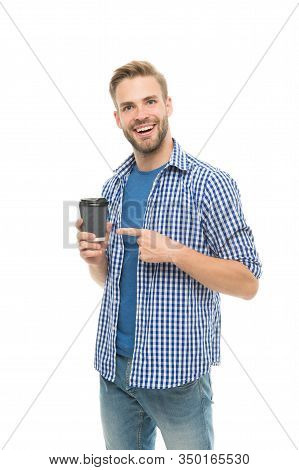 Have You Ever Tried Alternative Coffee. Happy Man Enjoy Drinking Coffee. Handsome Guy With Takeaway
