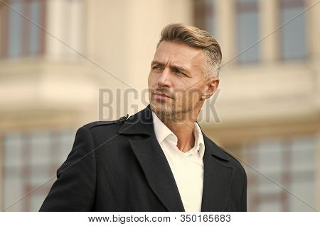 Businessman Concept. Men Get More Attractive With Age. Facial Care And Ageing. Traits And Behaviors