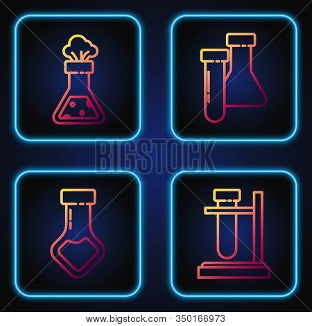 Set Line Test Tube Flask On Stand, Test Tube And Flask Chemical, Test Tube And Flask Chemical And Te