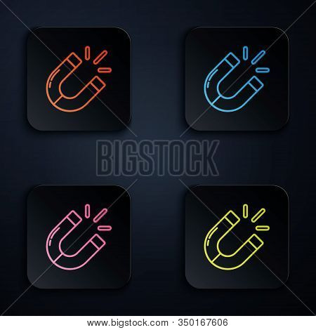 Color Neon Line Magnet Icon Isolated On Black Background. Horseshoe Magnet, Magnetism, Magnetize, At