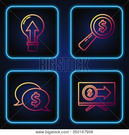 Set Line Monitor With Dollar, Speech Bubble With Dollar, Light Bulb And Magnifying Glass And Dollar.