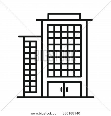 Line Vector Shopping Mall On White Background. Urban Architecture, Shopping Mall On White Background