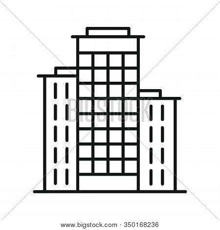 Line Vector Residential Building On White Background. Urban Architecture, Residential On White Backg