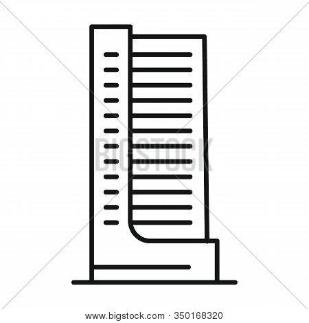 Line Vector Metropolis Building On White Background. Urban Architecture, Metropolis Building On Whit