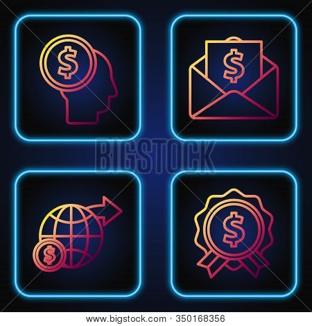 Set Line Price Tag With Dollar, Earth Globe With Dollar, Business Man Planning Mind And Envelope Wit