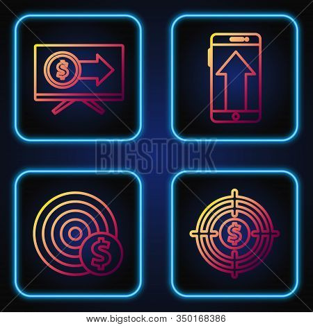 Set Line Target With Dollar, Target With Dollar Symbol, Monitor With Dollar And Smartphone, Mobile P