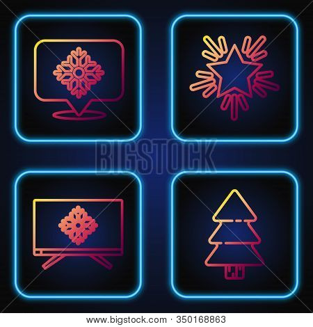 Set Line Christmas Tree, Merry Christmas On Television, Snowflake With Speech Bubble And Christmas S