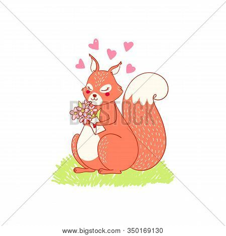 Cute Lovely Animalistic Illustration Squiring Character. Squirrel In Love, Spring Card About Love, P
