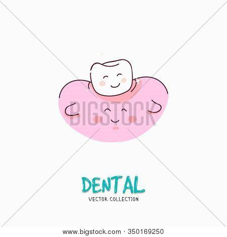 Clean Tooth Shinning. Dental Personage Vector Illustration. Illustration For Children Dentistry. Ora