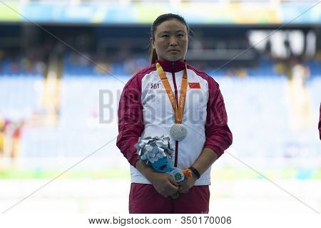 Rio, Brazil - September 11, 2016: Yang Yue (silver) During Women Discus Throw T44, Victory Ceremony,