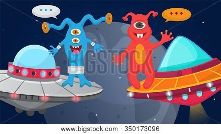 Aliens Cartoon Happy Monsters Flying In Space In Ships Vector Illustration. Cute Smiling Welcoming A