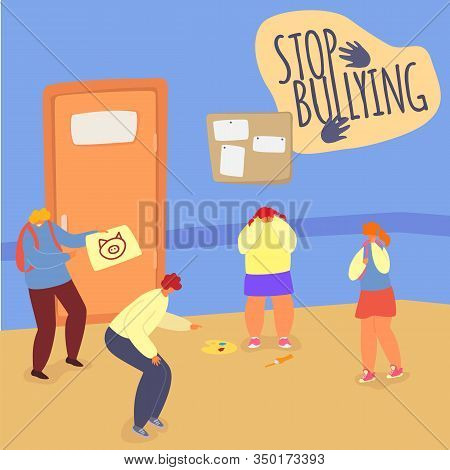 Stop Bullying In School Vector Illustration, Teens Classmates Aggression. Bully And Victims Children