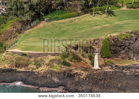 Nawiliwili, Kauai, Hawaii, Usa. - January 17, 2020: Timbers Kauai Ocean Green Golf Course With Kukii