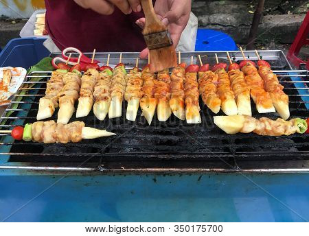 Grilld Chicken Bar-b-q Or Bbq With Tomato, Pineapple And Paprika In Street Food Market