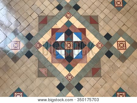Ancient Vintage Colorful Isometric Tile Wall Or Floor For Background And Texture