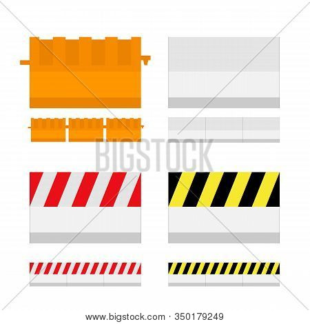 Flat Style Concrete Barrier; On Road Transportation Protection And Blocked.