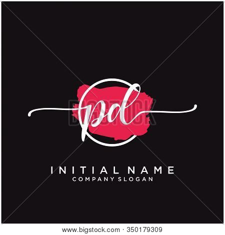 Pd Initial Handwriting Logo Design With Brush Circle. Logo For Fashion,photography, Wedding, Beauty,