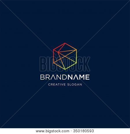 Hexagon Tech Logo Line Design Abstract Vector Stock. Line Hexagon Creative Simple Logo Design Templa