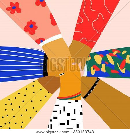Group Of People Putting Their Hands Together On Each Other. Friendship, Partnership, Teamwork, Commu