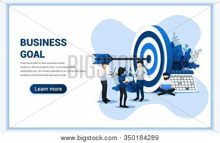 Business Web Banner Concept Design. People Work To Achieve Business Target. Reach The Target Busines