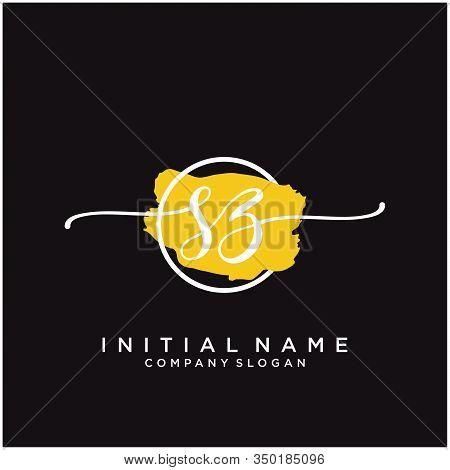 Sz Initial Handwriting Logo Design With Brush Circle. Logo For Fashion,photography, Wedding, Beauty,