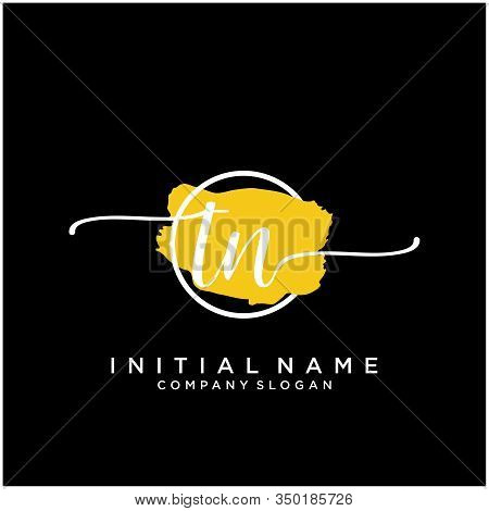 Tn Initial Handwriting Logo Design With Brush Circle. Logo For Fashion,photography, Wedding, Beauty,