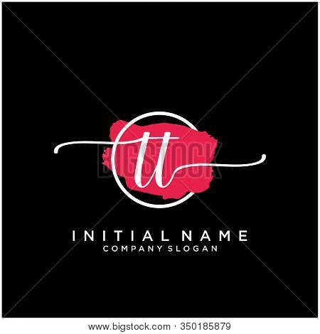 Tt Initial Handwriting Logo Design With Brush Circle. Logo For Fashion,photography, Wedding, Beauty,