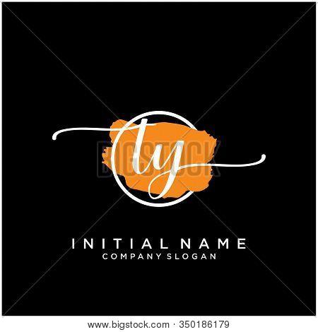 Ty Initial Handwriting Logo Design With Brush Circle. Logo For Fashion,photography, Wedding, Beauty,