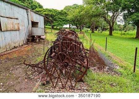 Old Rusted Farming Machinery Once Used By The Early Settlers In Australia To Till The Soil
