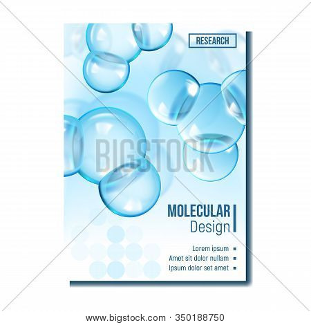 Chemical Molecule Research Advertise Poster Vector. Chemistry Scientific Molecule. Reflective And Re