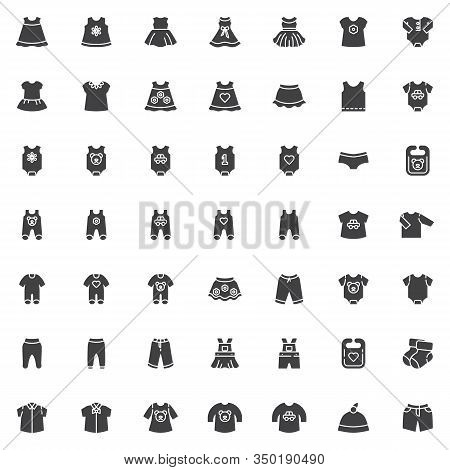Baby Clothing Vector Icons Set, Modern Solid Symbol Collection, Infant Clothes Filled Style Pictogra