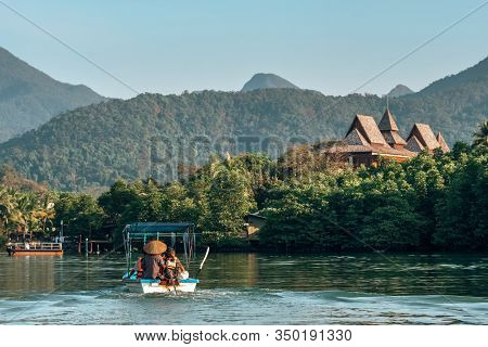 Koh Chang, Thailand - December 19, 2018: Boat with unidentified tourists going to luxury resort on Koh Chang island, Thailand