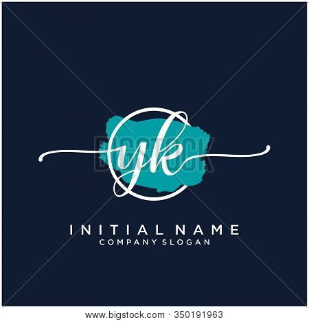 Yk Initial Handwriting Logo Design With Brush Circle. Logo For Fashion,photography, Wedding, Beauty,