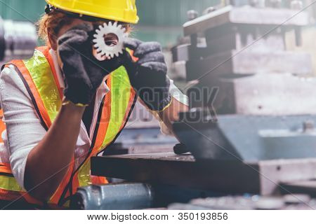Industrial Factory Maintenance Engineers Woman Inspect Relay Protection System Of Machinery With Cop