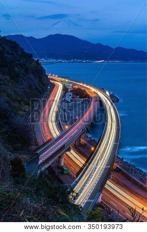 Satta Pass. Aerial View Of Mountain Fuji With Highway And Express Way, Roads Or Streets At Night In