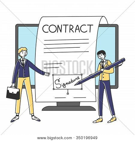Business People Signing Online Contract With Electronic Signature Vector Illustration. Managers Sign