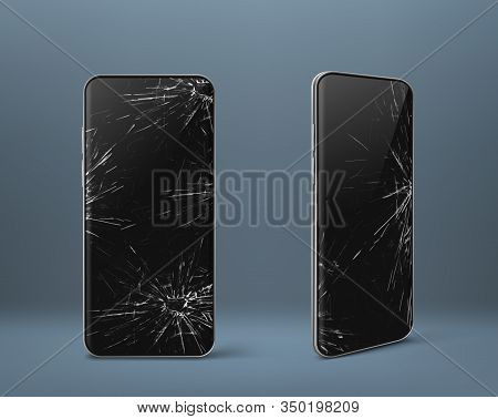 Mobile Phone With Broken Screen Set Front And Side View, Smashed Smartphone, Shattered Electronics D