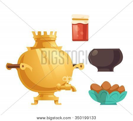 Samovar, Jam In Glass Jar, Pot And Cakes. Vector Cartoon Traditional Russian Utencil And Food For Te