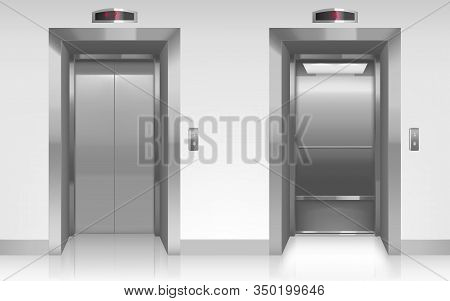 Open And Closed Elevator Doors In Office Hallway. Vector Realistic Empty Modern Interior With Lift,